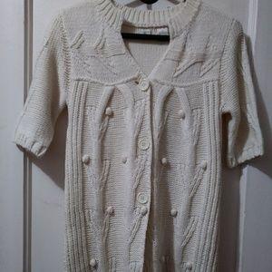 Aqua Chunky Short Sleeve Cable Knit Sweater